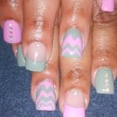 pink and grey zig zag