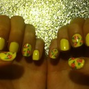 Yellow Floral Nails
