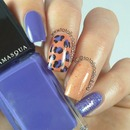 Blue and Orange Nail Art