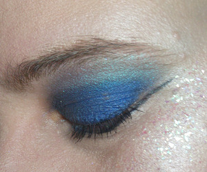 Indie loose eyeshadows and craft glitter, used to create a sci-fi feel.