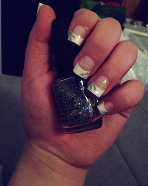 French manicure with silver/glitter stripes