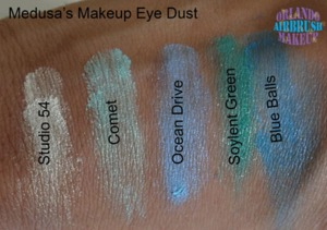 Medusa's Makeup Eye Dust swatches on medium tan / olive skin, available at http://www.OrlandoAirbrushMakeup.com, serving the Orlando and Miami markets.