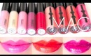 MAC Lipglass Swatches on Lips 17 colors | Review