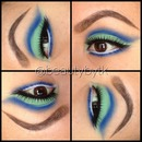 Royal blue and mint green eyeshadow