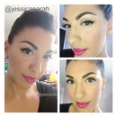 hot pink lips and cat eye