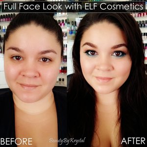 Here is a before and after photo for a bronzed and glowing look I created using all ELF cosmetics products! Check out my blog post for the full list of products used: http://www.beautybykrystal.com/2014/06/full-face-look-with-elf-bronzed-glowing.html