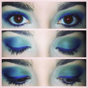 Teal shadow on base, light/medium green in crease, dark blue on outer v, natural shimmery brown as highlighter and on inner v, and purple eyeliner.