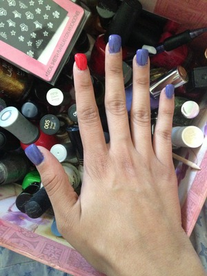 """I used nail polish from Pure Ice™ """"Jail Bait"""" (purple) & Orly """"Terracotta"""""""