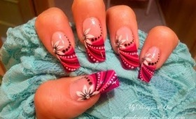 Pink & White Flower Abstract Nail Art Design Tutorial - ♥ MyDesigns4You ♥