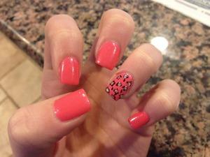 Pink Acrylic Cheetah Nails