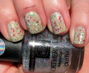 OPI Don't Touch My Tutu!, my Christmas glitter franken, and inm Northern Lights Holographic Top Coat Silver
