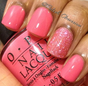 """Barbie pink dreme.  Elixir Lacquers """"With a K"""" as an accent nail.  http://www.polish-obsession.com/2013/02/opi-elephantastic-pink.html"""