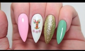 HOW TO: SWEET DEER FLORAL STILETTO NAILS TUTORIAL