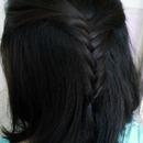 Half up fishtail braid.