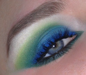 """Used NYX Jumbo Pencil in Milk for the base, NYX Pearl Pigment in Jade Pearl, Coastal Scents 88 Original Palette for greens and blues. For Dark blue I used Loreal HIP Duo Eyeshadow in """"Roaring"""" (Blue shade.)"""