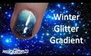 Blue Winter Glitter Gradient Ombre Nails! :D