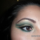 Green and gold cut crease