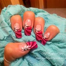 Abstract Pink Flower French Nail design