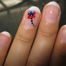 Cute Dragonfly on French Manicure