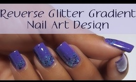 Purple Glitter Reverse Gradient Nail Art Design