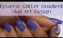 Purple Glitter Reverse Gradient Nail Art Design