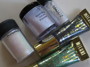 mac reflects teal / nyx sparkling glitter powder / mac reflects pearl / milani crystal eyez sparkling eye shadow