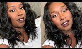 Easy Bronze makeup tutorial with Dark lips