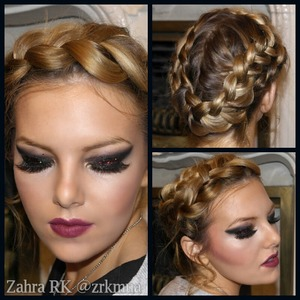 Braided Crown. Black smokey eyes with cranberry glitter, and cranberry stained lips