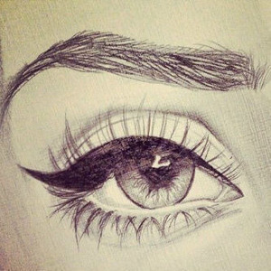 A drawing of an eye