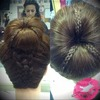 Donut bun with 5 strand braid