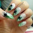 Green Halloween Spider Web Nails