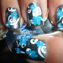 Simple Swirls ~ Blue Floral Nail Art