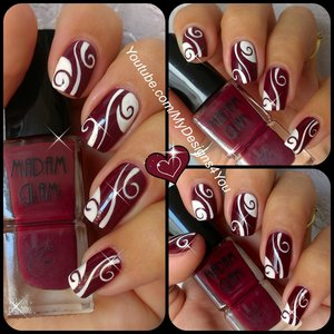 "Abstract Nail Art | Burgundy Madam Glam Nails. Get your 30% OFF these fantastic Vegan, 5 free, Cruelty-free polishes by MadamGlam here: http://madamglam.com/?utm_source=yt-LiudmilaZ USE COUPON CODE ""LiudmilaZ30"" https://www.youtube.com/watch?v=5U8ZhBRv5CM"