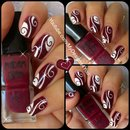 Abstract Nail Art | Burgundy Madam Glam Nails
