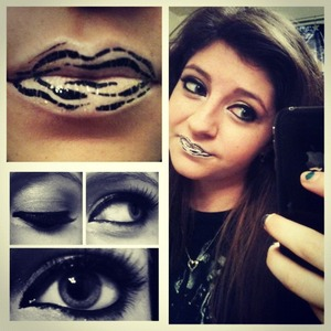 A fun twist on a neutral eye with fun, false lashes, and animal printed lips.