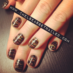 What I Used: -OPI Uh-oh Roll Down the Window -OPI You Don't Know Jacques! -Nail art stripers in dark brown and black