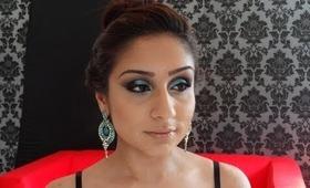 Turqouise Indian engagement makeup trial 2