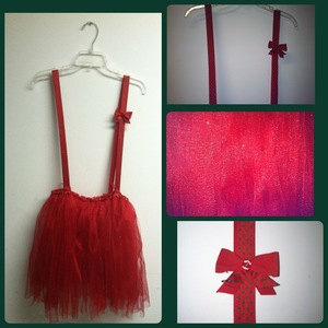 My Christmas Red glitter Tutu I made with Red & green polka dots suspenders. So simple to make!!!