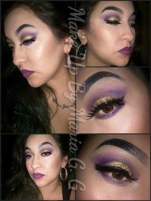 used the purples and golds in my coastal scents pallete mary Kay gel liner and gold glamour glitter football patriots