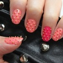 Pink Studded Nails