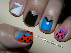 I have been doing a lot of designs lately based off of cartoons.  Love them!  See more @ http://polishpedia.com/flintstones-nails.html
