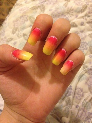 So I decided to do a ombré effect on my nails in the form of fire or a sunset. I'm still not sure which one it looks like more :)