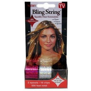 Bling String 500' Hair Tinsel with Clips - Hologram Silver/Pink