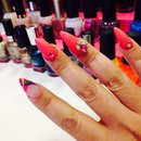 Colorful nails, almond shape