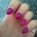 Pink and silver glitter mani