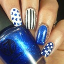 Blue and White Nail Art