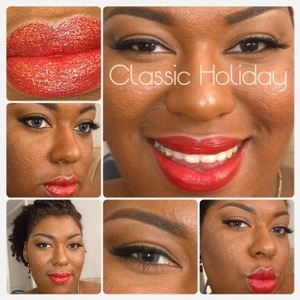 Bright red lips to red and gold glitter lips No lower liner to black lower liner Brown eyes to grey eyes