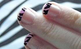 ♡ Pink Animal Print French Tip Nail Tutorial ♡
