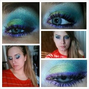 "Base: NYX Jumbo Pencil in ""Milk"" Lid: Maybelline Eyestudio Color Plush Silk Eyeshadow Palette in ""Gusty Green"" Liner: Maybelline Color Studio Color Explosion in ""Amethyst Ablazed""  Liner shimmer: Bare Minerals Eyeshadow in ""Wildflower"""