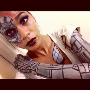 Used bh cosmetics, liquid latex, silver face paint from party city and 100% fun and imagination